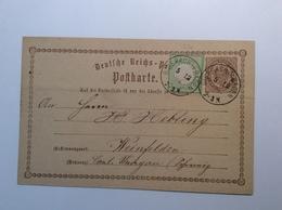 Deutsches Reich Brustschild Ausgabe 1872 Mi. 17 Auf 2 Kr Postkarte BIBERACH IN BADEN 1874 > Weinfelden Schweiz TG (Brief - Germany