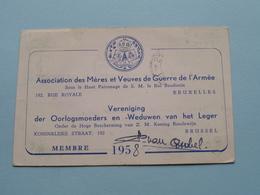 Ass. Mères Et Veuves De GUERRE / Oorlogsmoeder En -Weduwen ( Membre 1958 / Ley-Gerard TAMINES ) ( Zie Foto's ) ! - Documents