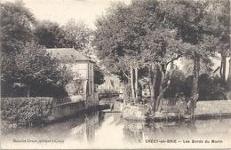 CRECY-EN-BRIE . LES BORDS DU MORIN , AFFR AU VERSO LE 12-6-1908 . 2 SCANES - France