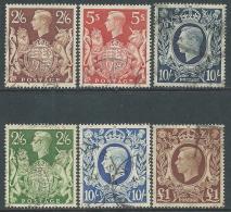 1939-48 GREAT BRITAIN KING GEORG VI USED SG 476/8b SET OF 6 - Usati