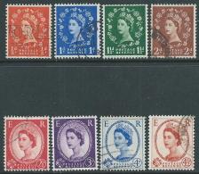 1958-61 GREAT BRITAIN USED QUEEN ELIZABETH II GRAPHITE LINED SG 587/94 SET OF 8 - 1952-.... (Elizabeth II)