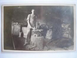 THEME ARTISANAT - CPA  - Belle Carte Photo D'un Forgeron écrite De OUROUX En 1937 - Craft