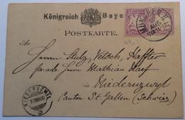 Bayern Mi. 45 Auf Ganzsache Postkarte 5Pf MÜNCHEN 1880> NIEDERUZWIL Schweiz SG (Brief - Bayern (Baviera)