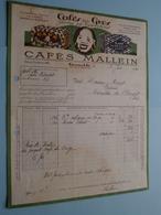 """Cafés En Gros """" Cafés MALLEIN """" à GRENOBLE () 1941 ( Voir Photo Svp ) ! - Alimentaire"""