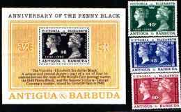 79216)   ANTIGUA E BARBUDA 1990-150° ANN. DEL 1° FRANCOBOLLO -Foglietto+ SERIE- MNH** - Antigua E Barbuda (1981-...)