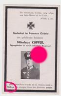 Guerre 40/45 Soldat De L'armée Allemande Nikolaus Küpper De Nidrum  Butgenbach 1911 - 1944 Imprimé à Malmedy / Wehrmacht - Obituary Notices