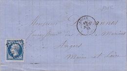 19172# SEINE MARITIME NAPOLEON N°14 LETTRE Obl PC + ROUEN 1861 T15 - Marcophilie (Lettres)
