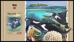 MALDIVES 2018 MNH** Manta Ray Manta Birostris S/S - OFFICIAL ISSUE - DH1818 - Fische