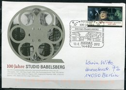 "Germany 2012 Plusbrief Film,Kino Mi.Nr.??mit SST""Potsdam-100 Jahre Filmstudio Babelsberg,Festakt ""1 Beleg - BRD"