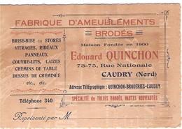 Carte De Visite Fabrique Ameublements Edouard QUINCHON à CAUDRY Nord , Stores, Rideaux, Laizes - Cartoncini Da Visita
