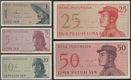 Indonesia SET - 1 5 10 25 50 Sen 1964 - UNC - Indonesië
