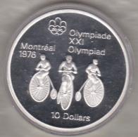 Canada 10 Dollars 1974 JO Montréal 1976 Cyclisme, Argent  Unc Dans Sa Capsule - Canada