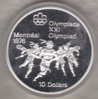 Canada 10 Dollars 1974 JO Montréal 1976 La Crosse, Argent  Unc Dans Sa Capsule - Canada