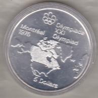 Canada 5 Dollars 1973 JO Montréal 1976 Carte L, Argent  Unc Dans Sa Capsule - Canada