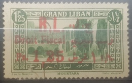 Lebanon 1927 Fiscal Revenue Stamp GRAND LIBAN Postal Stamp Overprinted GL (close) & Droit Fiscal - Ps 1,25 On 1p25 Green - Lebanon