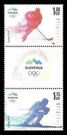 Slovenia 2018 Mih. 1291/92 Olympic Winter Games In Pyeongchang. Ice Hockey. Alpine Skiing MNH ** - Slovenia