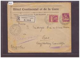 LAUSANNE - HOTEL CONTINENTAL ET DE LA GARE - LETTRE RECOMMANDEE - Suisse