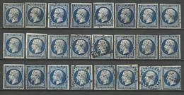 LOT DE NAPOLEON N° 14A Foncé Et Tres Foncé OBL - 1853-1860 Napoléon III