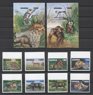 Ghana Animals Animaux Tiere Wild Cats Monkeys Bats 1993 IMP. MNH - Stamps