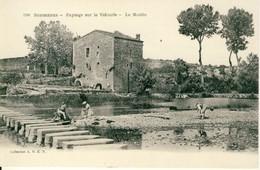Sommières  Paysage Sur Le Vidourle  Le Moulin Lavandières En Action Cpa - Sommières
