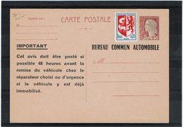 LCA9 - MARIANNE DE DECARIS CP REPIQUAGE BUREAU AUTOMOBILE  NEUVE - Overprinter Postcards (before 1995)