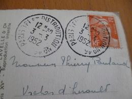 Sur CPA Paris Et TP 12 F Gandon Double Cachet Paris Et Tri Distribution N°45 03/03/1952 Oroplan? - 1921-1960: Période Moderne