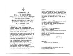D 45. OMER SCHOOFS Wed. M. BECKERS - OUD-OOSTFRONTSTRIJDER - °BRUSSEL 1924 /+SINT-GENESIUS-RODE 1994 - Images Religieuses