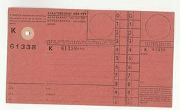 NETHERLANDS Unused P 38E  REGISTERED PACKET POST FORM RECEIPT CARD Document - Netherlands