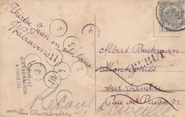 CP De Bxl Vers Montignies Sur Sambre + Cachet Inconnu à M. S/S + 10 Cachets De Facteur (1 à 11 Manque Le 8) + Rebut 1912 - Postmark Collection