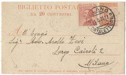 R977) V.E.III BIGLIETTO POSTALE 20 C. MICHETTI 1922 VIAGGIATO. VARIETA' SCRITTE SOPRA LA PERFORATURA - 1900-44 Vittorio Emanuele III