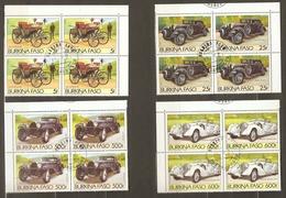 Burkina Faso 1985 - Voitures Anciennes - Série Complète° En Bloc De 4 - 645/6/PA284/5 - Peugeot/Bugatti /Mercedes/Benz - Burkina Faso (1984-...)