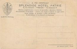 """U.204.  FIRENZE - Pubblicitaria: """"Splendide Hotel Patrie"""" - Firenze"""