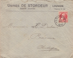 1910: Gelopen Briefomslag Van/Enveloppe Voyagée De ## Usines DE STORDEUR S.A., LOUVAIN ##  Aan/vers ## Brasserie Dubois, - Belgium