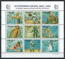 Turks & Caicos Isl. Scott # 1177a-j, MNH Sheetlet Of 9. Autonomous Diving Tribute To Jacques Costeau 1995 - Turks And Caicos