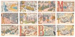 Lot De 12 CPA De Scènes Militaires - L' Alphabet Du Soldat - Illustrations Gaillard - Caserne Humour - Humoristiques
