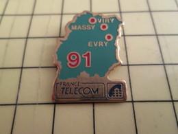 Sp02 Pin's Pins : Rare Et Belle Qualité  FRANCE TELECOM / DEPARTEMENT 91 MASSY EVRY VIRY TOUPOURRY - France Telecom