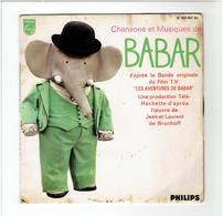CHANSONS ET MUSIQUES DE BABAR 1968 DE BRUNHOFF DISQUE PHILIPS 45 TOURS - Disques & CD