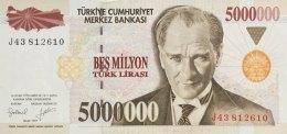 Turkey 5 Mio. Lirasi  P-210 (1997) UNC - Türkei