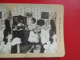 PHOTOS STEREOSCOPIQUES  ETATS UNIS USA NORTH BENNINGTON TAKING IN A DIFFICULT REEF FEMMES CORSET - Photos Stéréoscopiques