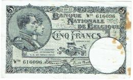 Billet. Belgique/Belgie. Cinq Francs. 5 Francs. 1922. - [ 2] 1831-... : Regno Del Belgio