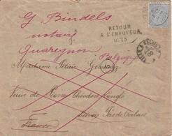 Env Affr T.60 Obl Quaregnon Vers Liévin France Ambulant Lille à Calais 2 Man Inconnu + Càd LIEVIN, ARRAS, LILLE Au Verso - 1893-1900 Thin Beard