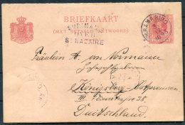 1893 Suriname Stationery Postcard. Paramaribo - Konigsberg Germany. St Nazaire Paquebot - Surinam ... - 1975