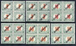 HUNGARY 1918 KÖZTARSASAG Overprints In Blocks Of 4 MNH / ***.  Michel Porto 46-51 - Postage Due