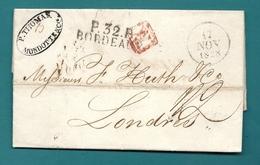 Gironde - Bordeaux Pour Londres.  LAC En Port Payé De 1828 - Postmark Collection (Covers)