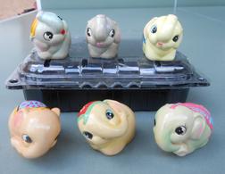 Elefanti Addobbati, Decorated Elephants; 6 Gypsum N° 197. Temperamatite, Pencil-sharpener, Taille Crayon, Anspitzer. - Figurines