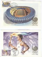 SOUTH KOREA 2 Maxicards With 2 Cancels Seoul Stadium/Torch 1988 5 6 In BLACK - Summer 1988: Seoul