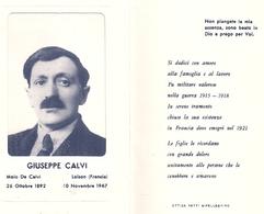 HAUTE CORSE 2B CALVI Ou ITALIE - 62 PAS DE CALAIS LOISON SOUS LENS Carte Mortuaire Giuseppe Calvi 1892 - 1967 - Calvi