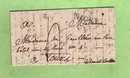Deux-Sèvres 75 NIORT  25x11 Lettre De 1826 Pour TOURS Taxée 4 Décimes - 1801-1848: Voorlopers XIX