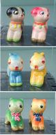 Animali 3 Coppie, 3 Couples Animals, Complete; 6 Gypsum N° 132.Temperamatite, Pencil-sharpener,Taille Crayon,Anspitzer. - Figurines