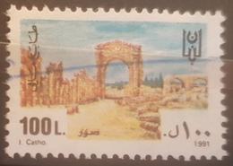 05 Lebanon 1991 Fiscal Revenue Stamp - 100L Sour - Libanon